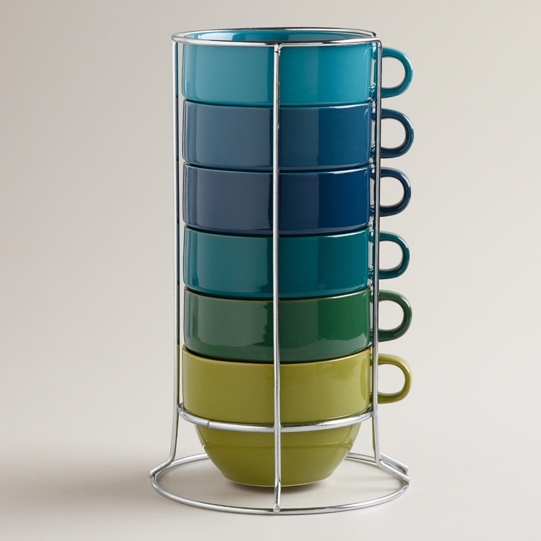 Colorful 6 Mug Stack